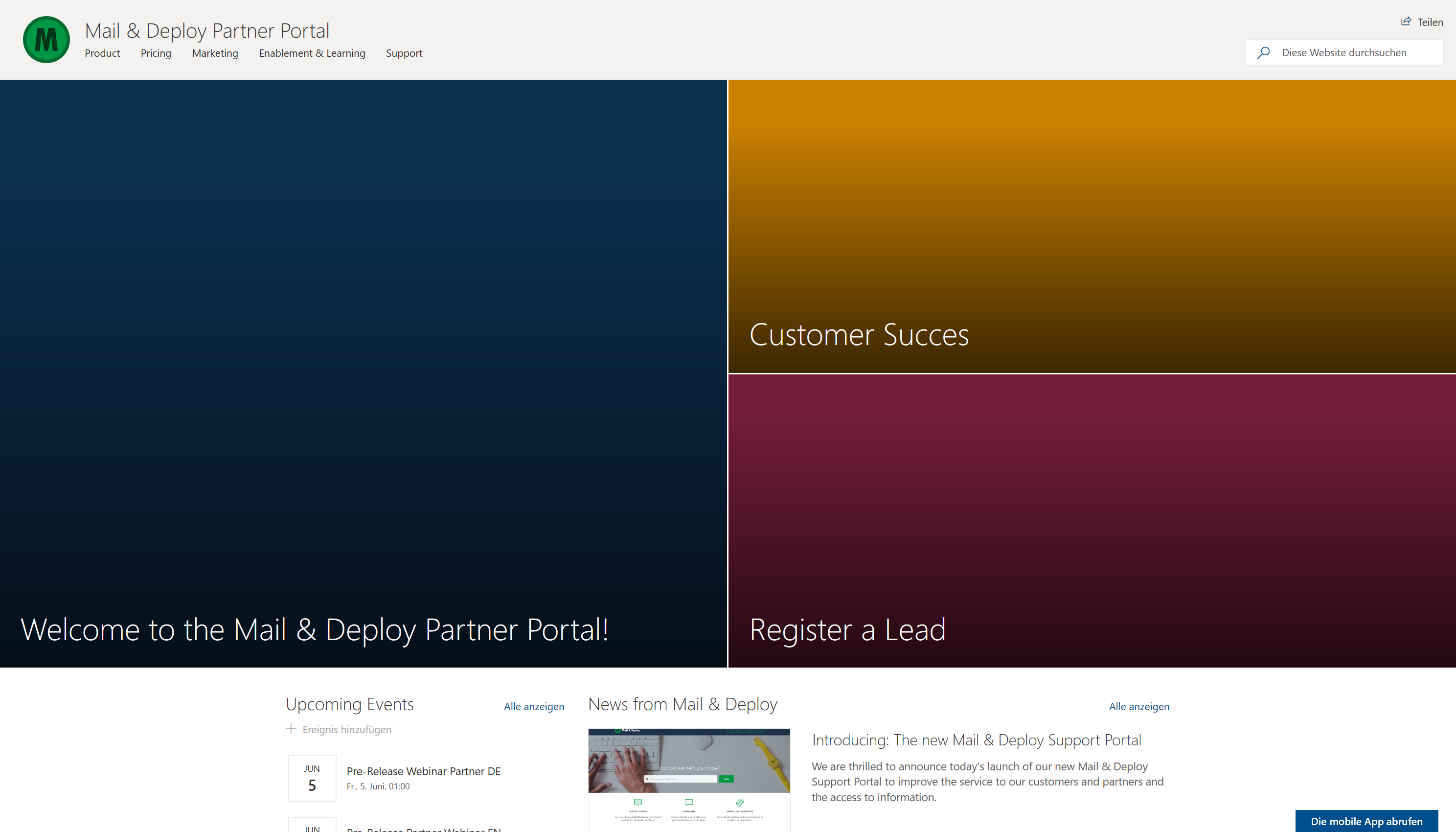 Screenshot of the Mail & Deploy Partner Portal